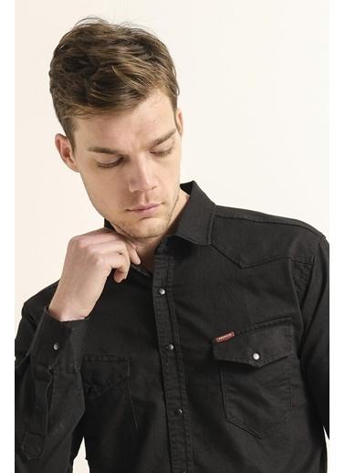 Oksit Hardy Çift Cep Detaylı Slim Fit Erkek Kot Gömlek Siyah